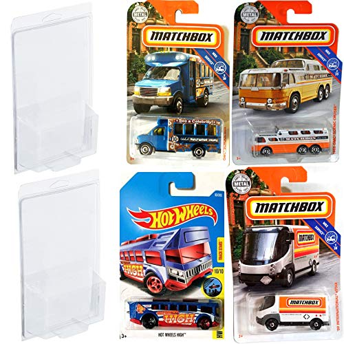 - Hot Wheels Tours & Trucks Matchbox TGMC Scenic Cruiser & Hollywood School Bus / International Estar High City Bus 4 Pack with Plastic Cases