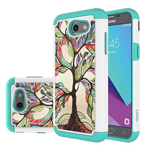 For Samsung Galaxy J3 Emerge Case, J3 Prime / J3 2017 / J3 Mission / J3 Luna Pro / J3 Eclipse / Express Prime 2 / Amp Prime 2 / Sol 2 Case, LEEGU Dual Layer Heavy Duty Protective Case - Love Tree