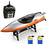 HELIFAR RC Boat 2.4G Remote Control for Outdoor Use for Lakes and Pools High Speed Up to 20km/h Racing Yacht for Child and Adult (Bonus Battery)