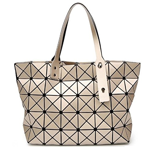 Gold Handbags Matte - Fashion Geometric Lattice Top-handle Handbag Matte PU Leather Tote Purse and Handbags Unique Geometry Shoulder Bag (Matte Gold)