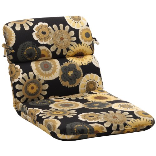 Pillow Perfect Indoor/Outdoor Black/Yellow Floral Round Chair Cushion