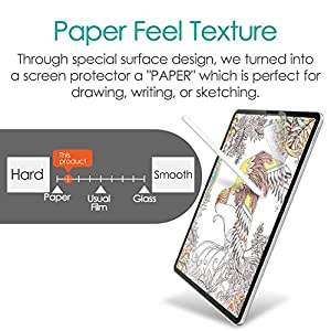 ELECOM Paper-Feel Screen Protector Compatible with iPad Pro 12.9 inch (2018,2020) / Drawing, Anti Glare, Scratch Resistant/Bond Type, TB-A18LFLAPL-W (Color: Drawing - Rough (More Paper Feel), Tamaño: 12.9 inch)