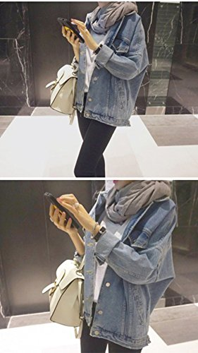 Jacket Donna Cappotto Denim Outerwear Manica Bleu Clair Jeans Lunga Giacca YZ4qrxY