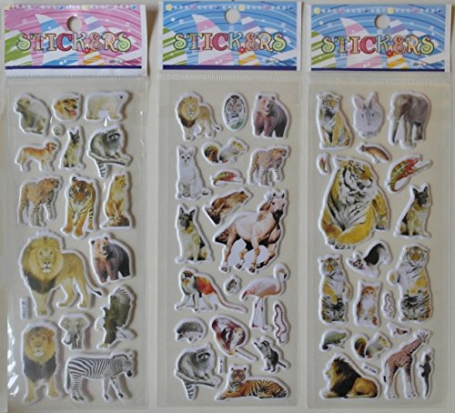 MOKRIL 6-Sheets Kids Cartoon Novelty Educational 3D Reusable Stickers Decals ~ Butterflies, Animals, Cars, English Alphabet, Numbers, Party Supplies, Fruits, Dress Up Dolls (Animals)