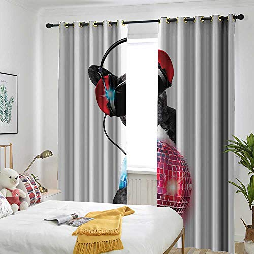 - Music Decor Collection Living Room/Bedroom Window Curtains Dj Bulldog Listening to Music with a Fancy Disco Ball and Lights Puppy Enjoy Design Embossed Thermal Weaved Blackout 84