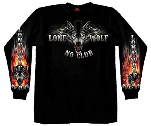 Hot Leathers Lone Wolf No Club Biker Long Sleeve Double Sided T-Shirt (Black, Large)