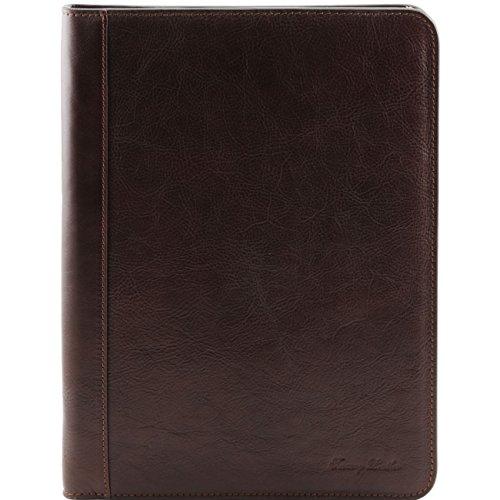 Tuscany Leather Lucio - Elegante portadocumentos en piel con anillas Marrón oscuro Portadocumentos en piel Marrón oscuro