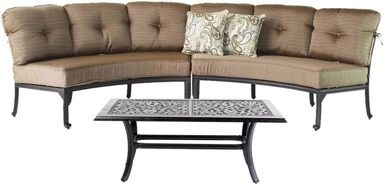 Amazon Com Curved Elisabeth Sofa Cast Aluminum 3pc Deep Seating Circular Patio Set With Coffee Table Garden Outdoor