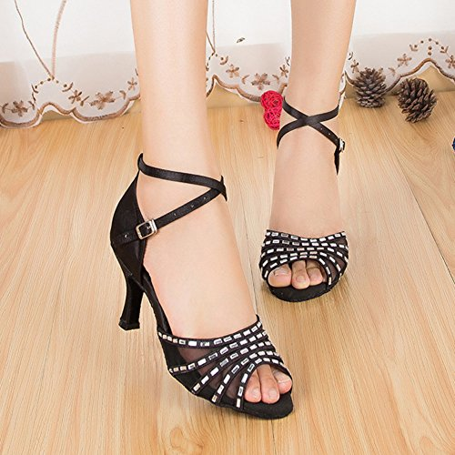 Baile De Zapatos Baile De Zapatos De WYMNAME Blando Fondo Tacones Latino Negro Baile El Mujeres Social Diamante Zapatos Modernos wXqXn1ta