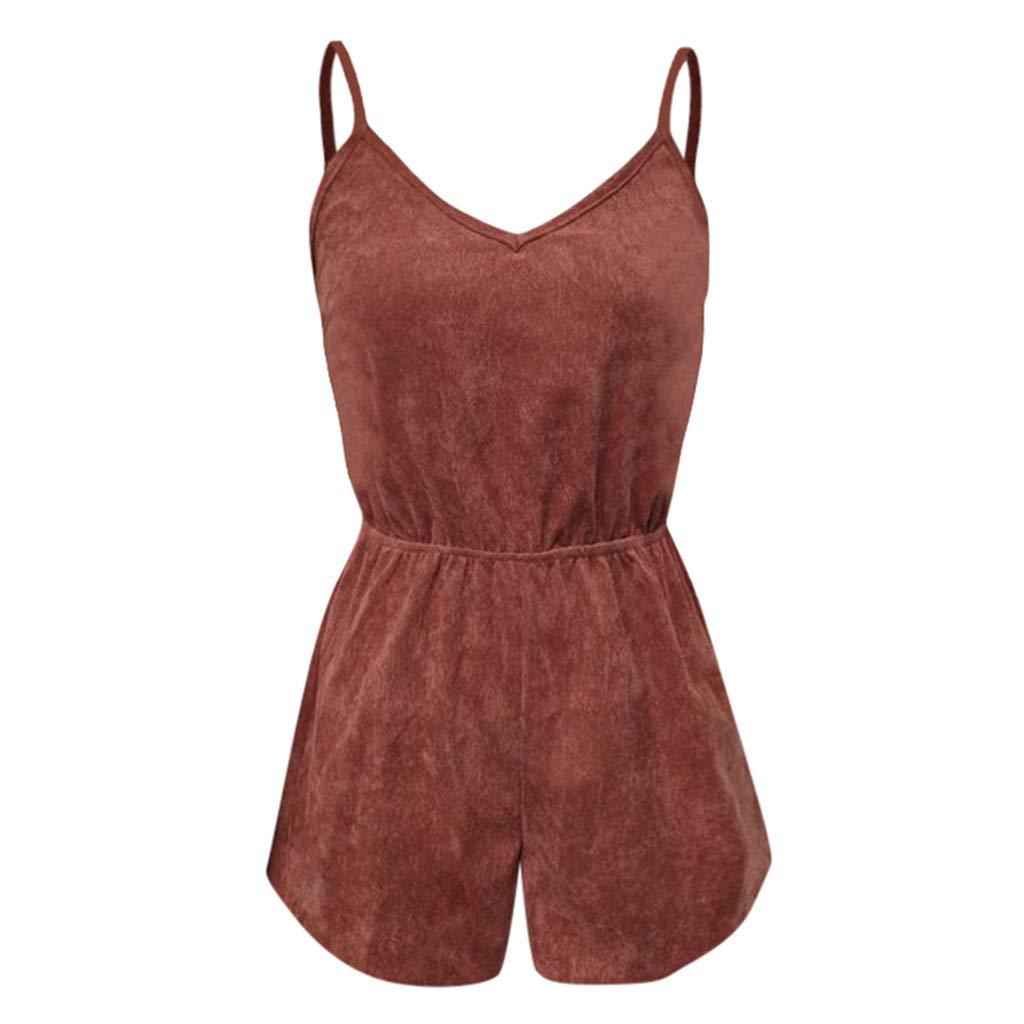 Psunrise Mono Women Fashion Causal Adjustable Strap V-Neck Elastic Waist Sleeveless Short Camis Jumpsuit(L, Black) by Psunrise (Image #3)