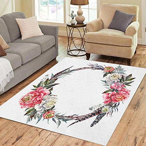 Semtomn Area Rug 3' X 5' Watercolor Floral Wreath Made of Peonies Leaves Pheasant Feathers Home Decor Collection Floor Rugs Carpet for Living Room Bedroom Dining Room - Feather Pheasant Wreaths