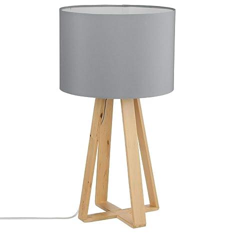 Lámpara de mesa con pie de madera natural, pantalla de color GRIS