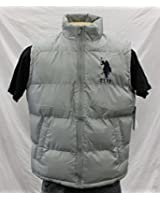U.S. Polo Assn. Men's Basic Puffer Vest with Large Pony Logo, Grey