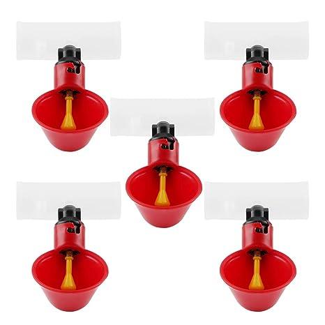 5Pcs bebedores automáticos de pollo bebederos bebederos de aves tazas de riego dispensadores de tazones de plástico rojo patios de pollo pato aves ...