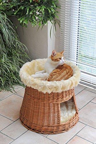 animal-design: Katzen-Haus Katzen-Höhle Katzen-Turm Katzen-Bett Katzen-Korb weiche Plüsch-Einlage waschbar Ø ca. 50 cm…