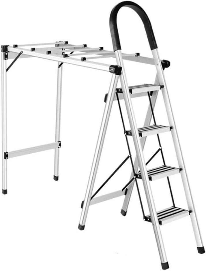 CXLO Escalera de casa 2 en 1, Tendedero Escalera 4 peldaños Aleación de Aluminio Multifuncional Tendedero -L160cm X W37cm X H112cm, Peso del rodamiento 150kg: Amazon.es: Hogar