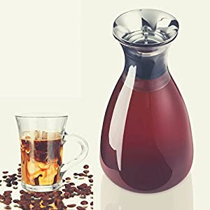 ZENZENZE HOME Airtight Cold Coffee Brew Maker Glass Pitcher Iced Tea Infuser, Brewing Decanter with Removable Stainless Filter, Free Cold Coffee and Teas Beverages Recipes eBook, 1.6 quart/50 oz.