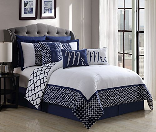 S.L. Home Fashions Cmr-7778 Mrs 9 Pc Reveresible Print Comforter Set, King  9 pc bedding set king | Most Popular contemporary quilt set king on Amazon to Buy (Review 2017) 51NauDf9 2BTL