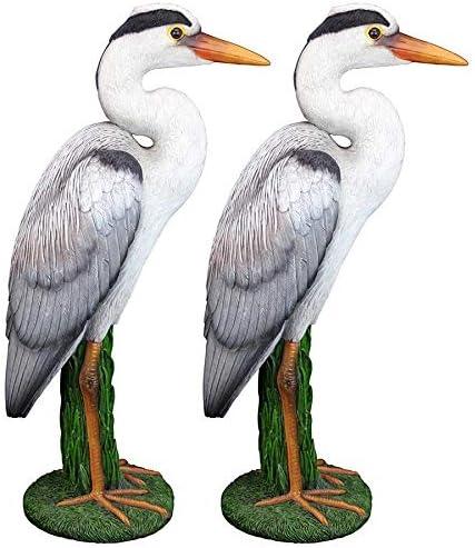 Design Toscano QM927565 Gray Heron Coastal Bird Statue: Set of Two
