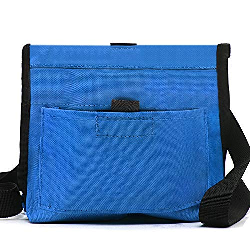 Wellbro Dog Treat Pouch, Handy Pet Training Waist Bag with Fast Spring Hinge and Front Pocket, Easy to Carry Treats and Toys, for Rapid Reward to Pets, Blue