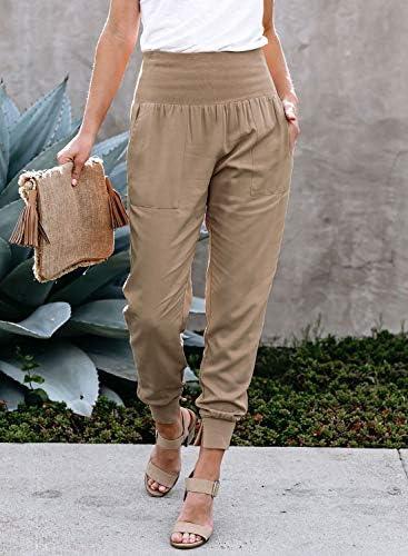 Dokotoo Womens Fashion Casual Drawstring Elastic Waist Cotton Jogging Jogger Pants with Pockets