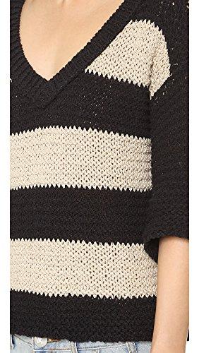 Free-People-Womens-Parkslope-Stripe-Pullover-Sweater-BlackHemp-Size-Small