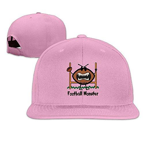 Basee Angry Football Monster Cartoon Adjustable Flat Along Baseball Cap Pink