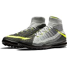 Nike Men's HyperVenomX Proximo II DF TF Turf Soccer Shoes (Black, Grey, Volt)
