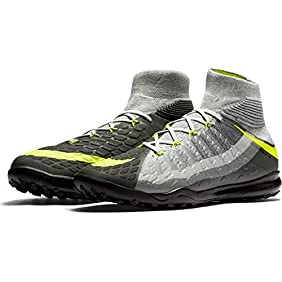 Nike Men's HyperVenomX Proximo II DF TF Turf Soccer Shoes (Black, Grey, Volt)