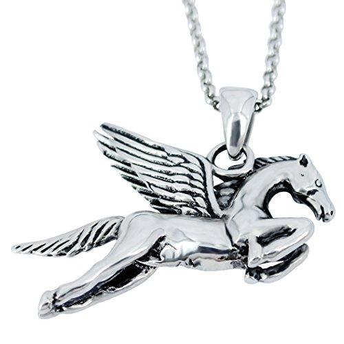 Necklace Pegasus - Stainless Steel women Pendant Necklace Vintage Silver Pegasus Horse Bonnie