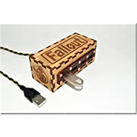Handmade Wooden 4 ports USB 2.0 HUB Spliter with engraved Fallout sign. Game Gadget ####### (Tags: Wood Handwork Handcraft Exclusive Unique Best Cool Great Retro Vintage Gadget Device. Idea for Christmas New Year Birthday Present Gift. For Geek Man Him Dad Boy Teen. For Computer Tablet PC Notebook Laptop Mac)