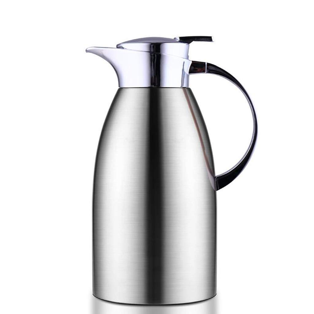 Food-Grade Thermal Carafe Push Button Vacuum Jug Flask Water Pitcher with Lid Handle (Color : Silver, Size : 2L)