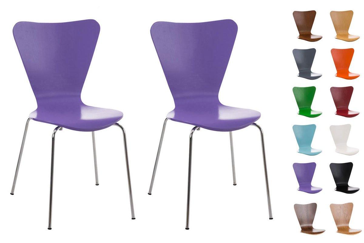 CLP HJH Office Sedia/sedia impilabile, RG (2x), ergonomiche sagomate con seduta in legno, tra cui scegliere fino a 10 colori Viola