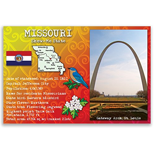 Missouri Postcard - MISSOURI STATE FACTS postcard set of 20 identical postcards. Post cards with MO facts and state symbols. Made in USA.