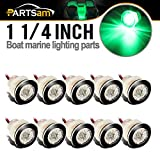 Partsam 10Pcs 12V Marine RV Green LED Courtesy Boat Lights Clear Lens Boat/Stair/Livewell, 1-1/4'' Mini Round Button Led Thru-Wall Submersible Boating Equipment