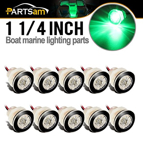 Partsam 10Pcs 12V Marine RV Green LED Courtesy Boat Lights Clear Lens Boat/Stair/Livewell, 1-1/4'' Mini Round Button Led Thru-Wall Submersible Boating Equipment by Partsam