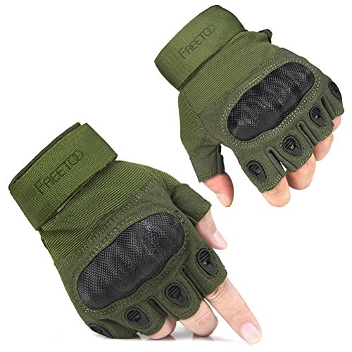 FREETOO Tactical Gloves Military Rubber Hard Knuckle Outdoor Gloves for Men Half Finger Gloves Army Green (M)