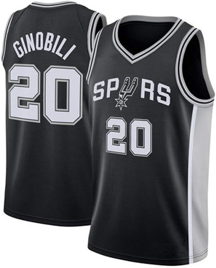 Hombre Mujer Ropa de Baloncesto NBA Spurs 20# Ginobili Jersey ...