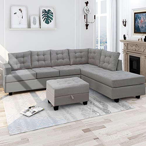 Harper & Bright Designs 3 Piece Sectional Sofa with Chaise Lounge Storage Ottoman Living Room Furniture Sofa (Gray)