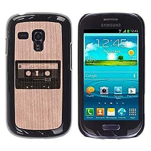 // MECELL CITY PRESENT // Cool Funda Cubierta Madera de cereza Duro PC Teléfono Estuche / Hard Case for Samsung Galaxy S3 MINI 8190 /// Cassette Retro Music Cool Old ///