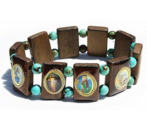 Mercado Wood (Catholic Saints Turquoise Beaded Prayer Elastic Stretch Bracelet)