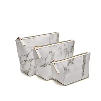 6253cefdf4eb Homekit 3 Pcs Marble PU Brush Cosmetic Makeup Bag ... - Amazon.com
