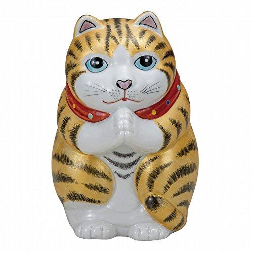 Jpanese tradicional cerámica Kutani Ware. Abalorio de la suerte. Beckoning gato Hojas doradas. Con caja de papel. ktn-K5-1581: Amazon.es: Hogar