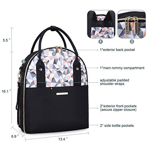mommore Large cambiar bolsa mochila viaje mochila para pañales con cambiador, correa, bolsa térmica para cochecito moda mamá negro negro negro