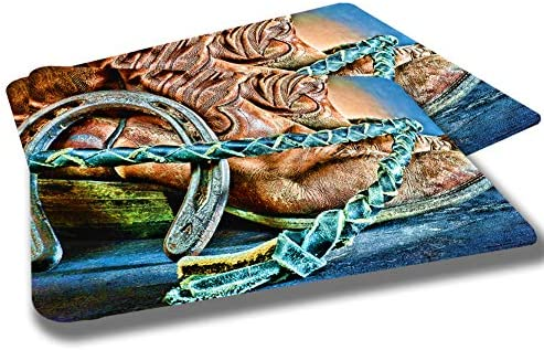 Leather Cowboy Boots and Horse Shoe Design Rubber Grip Non Skid Backing Rug Indoor Entryway Door Rug Mats Pack of 2