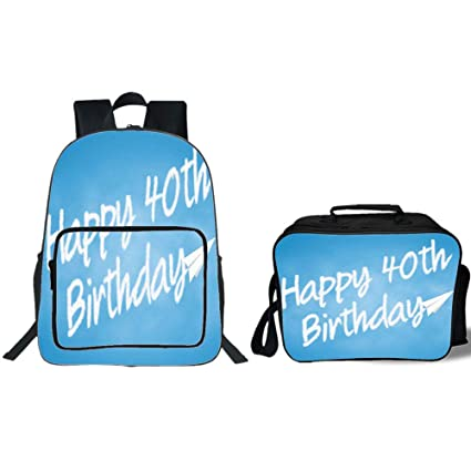 19quot School Backpack Lunch Bag Bundle40th Birthday DecorationsCelebration Theme Clouds