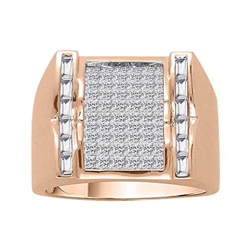 KATARINA Baguette and Princess Cut Diamond Men's Ring in 10K Rose Gold (1 7/8 cttw, G-H, VS2-SI1) (Size-7.5)