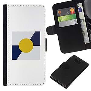 All Phone Most Case / Oferta Especial Cáscara Funda de cuero Monedero Cubierta de proteccion Caso / Wallet Case for Samsung ALPHA G850 // Sun Minimalist Blue White Poster