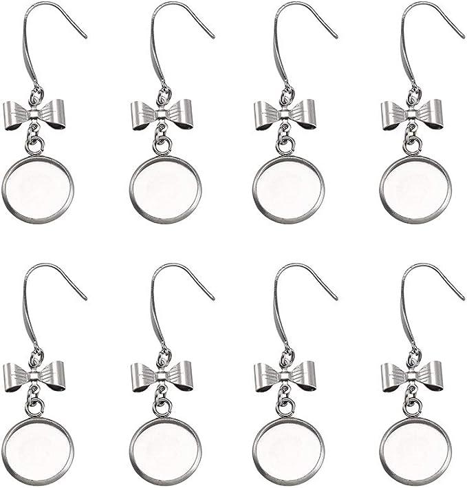 Kissitty 10pcs Stainless Steel Earring Wire Hooks with 12mm 0.47 Blank Bezel Tray Cabochon Settings for DIY Dangle Earrings Jewelry Finding Making