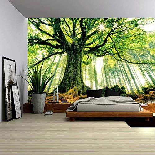 ENJOHOS Nature Forest Thick Tree Wall Tapestry Large King Size 3D Print Wall Art Hanging for Bedroom Living Room Dorm Decor, W90 x T71,Green and White